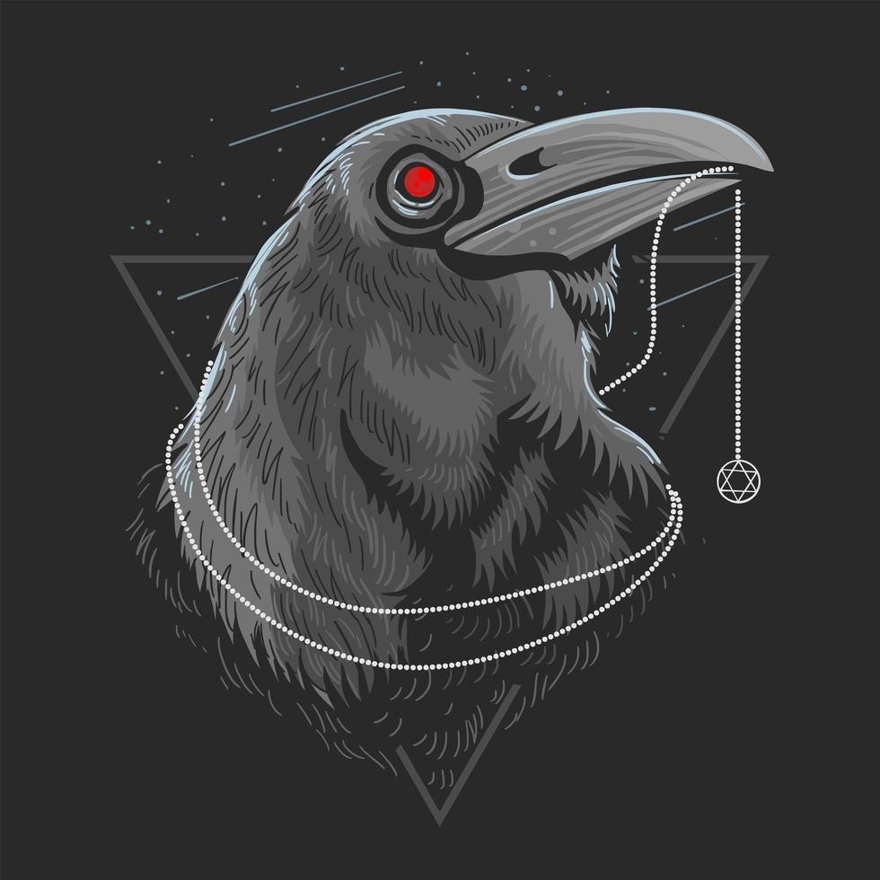 diseño de cabeza de cuervo negro vector