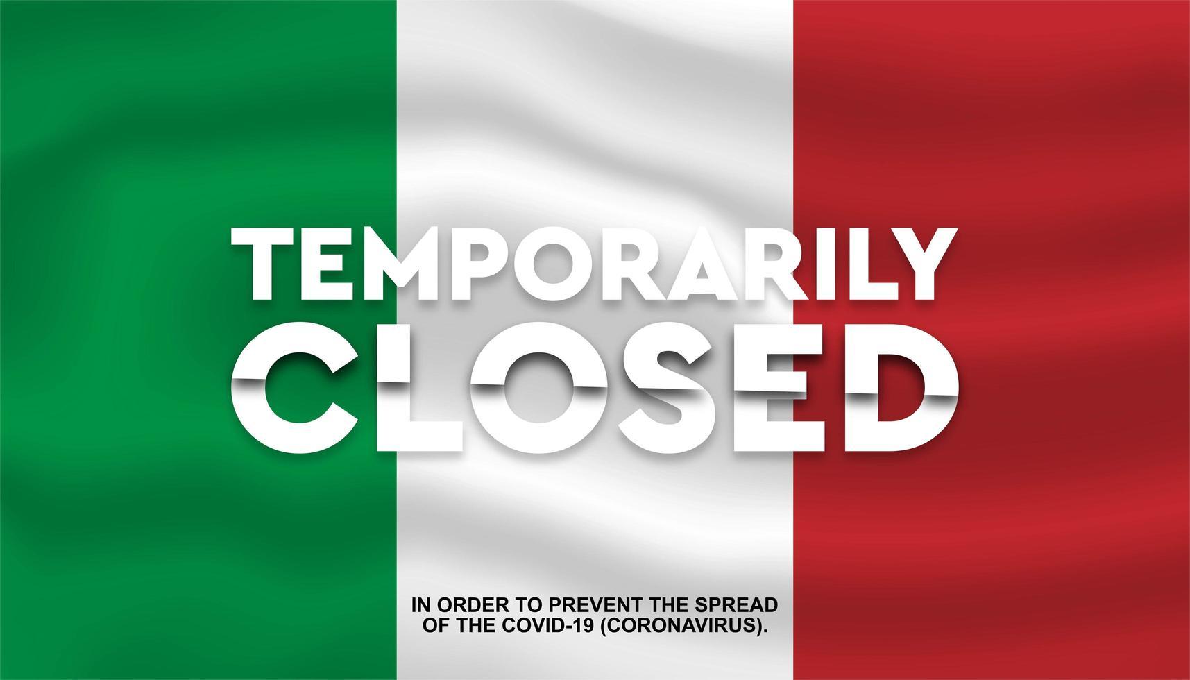 bandera de italia cerrada temporalmente vector