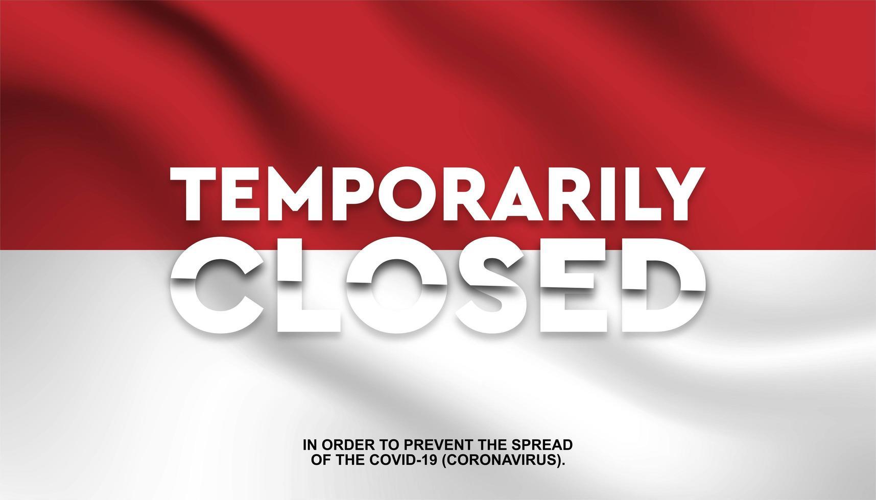 drapeau de l'Indonésie '' temporairement fermé '' fond vecteur