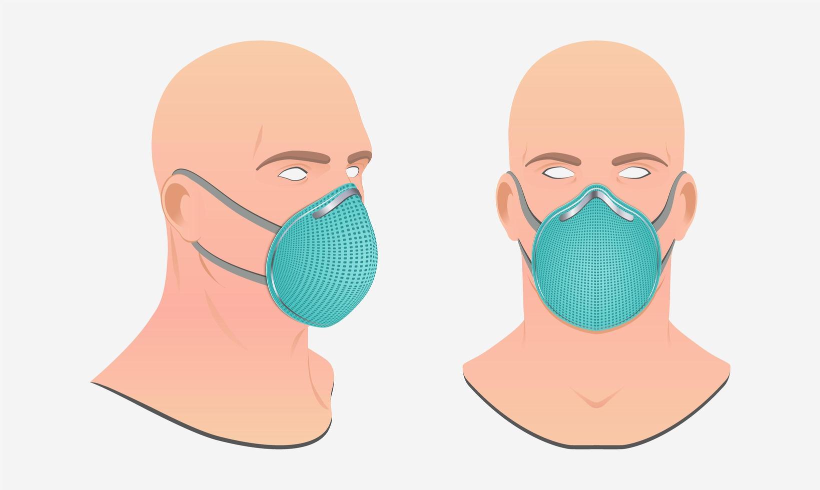 persona con mascarilla quirúrgica vector