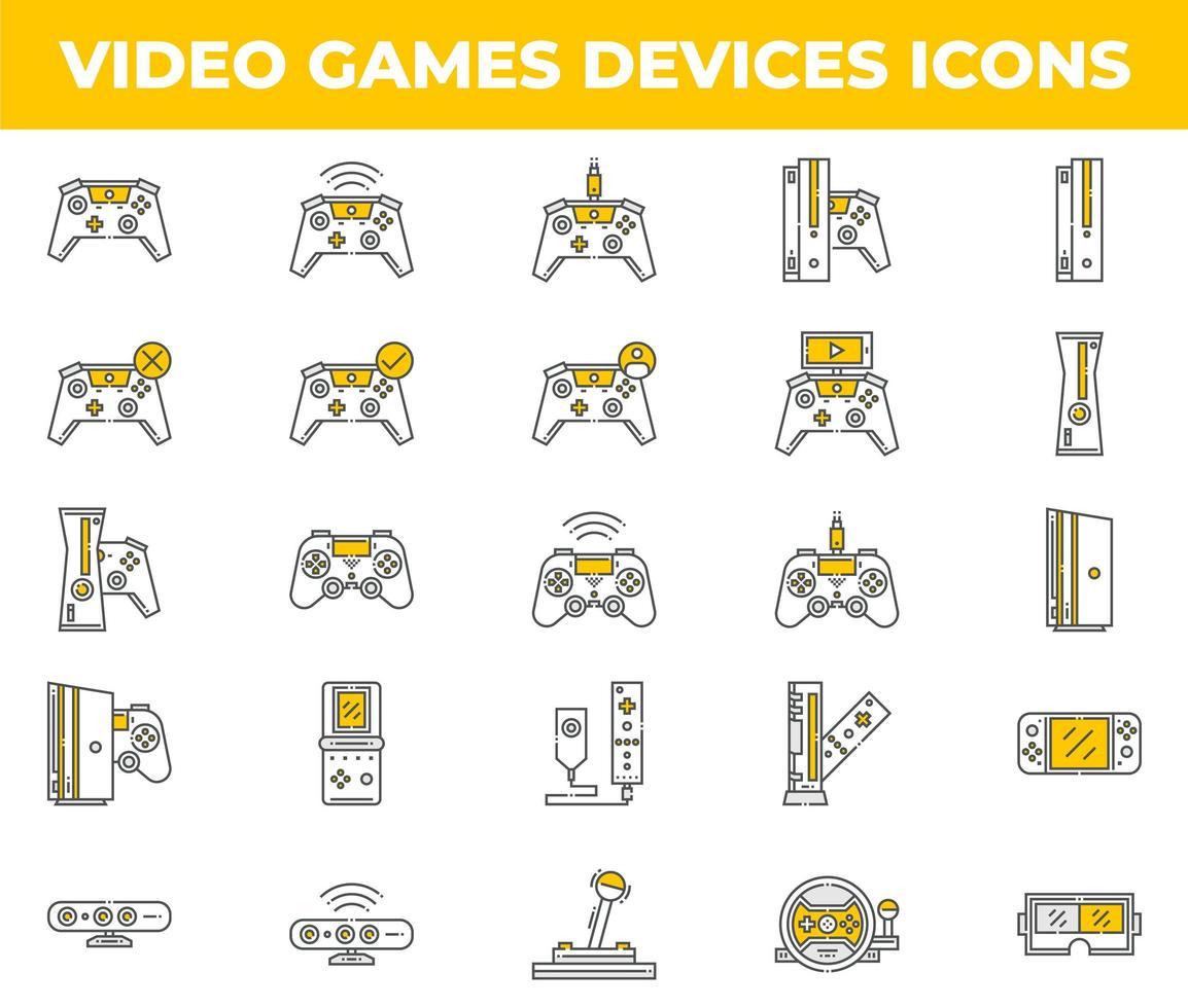 iconos de videojuegos y dispositivos blancos y amarillos vector