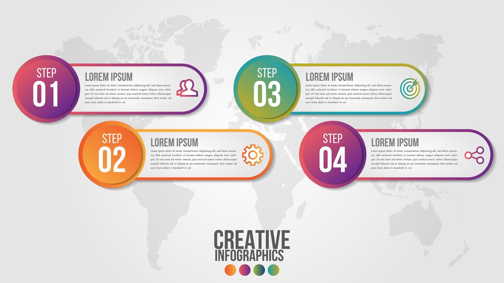 4 step infographic with gradient rounded banners vector
