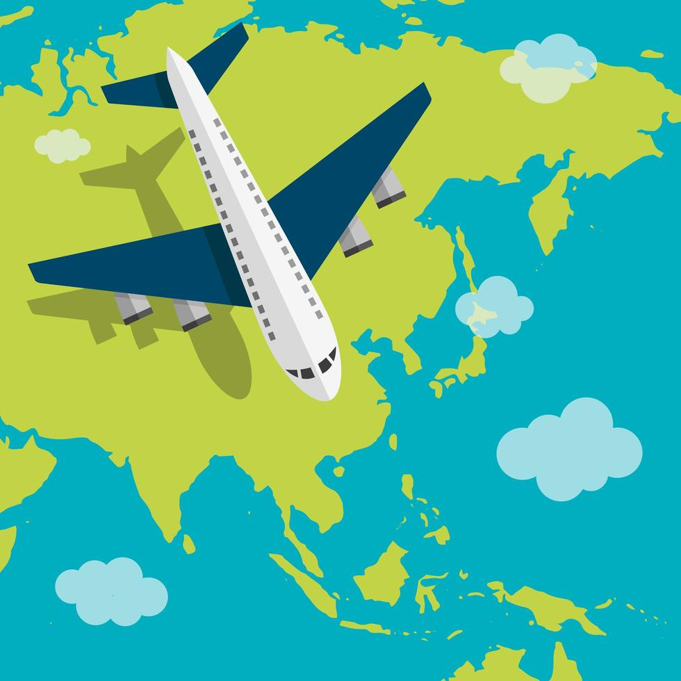 Airplane flying over Asia vector