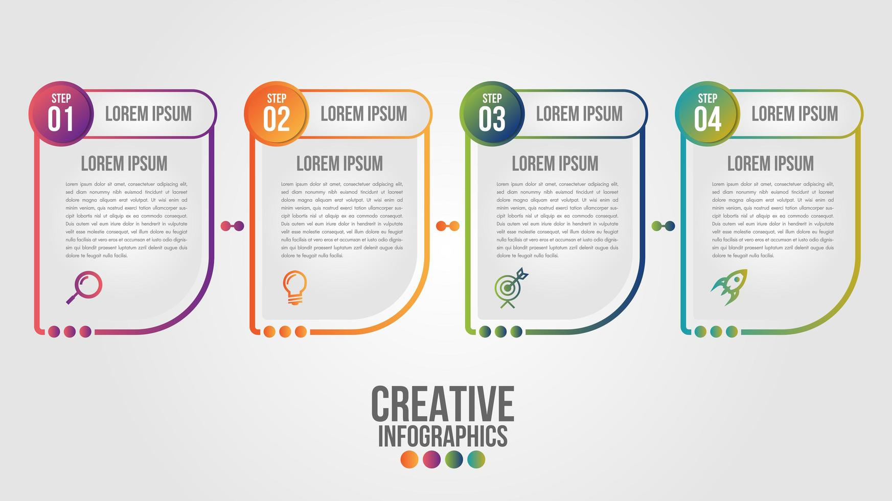 Infographic with 4 abstract shapes with gradient outlines vector