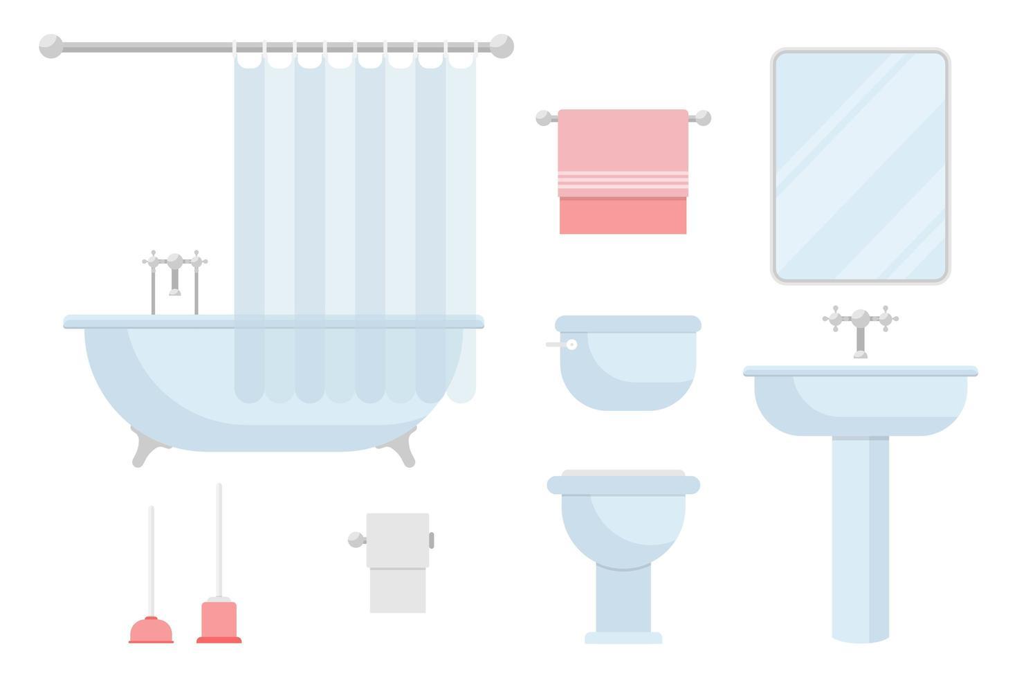 conjunto de equipamiento y equipamiento de baño vector