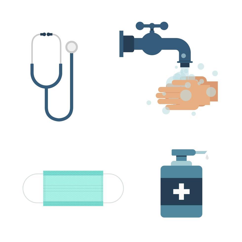 conjunto de iconos de prevención covid vector