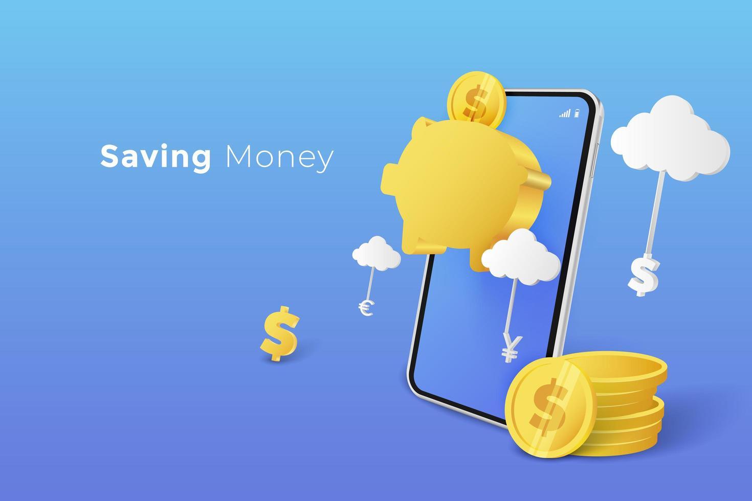 ahorrar dinero en la hucha con teléfono inteligente vector
