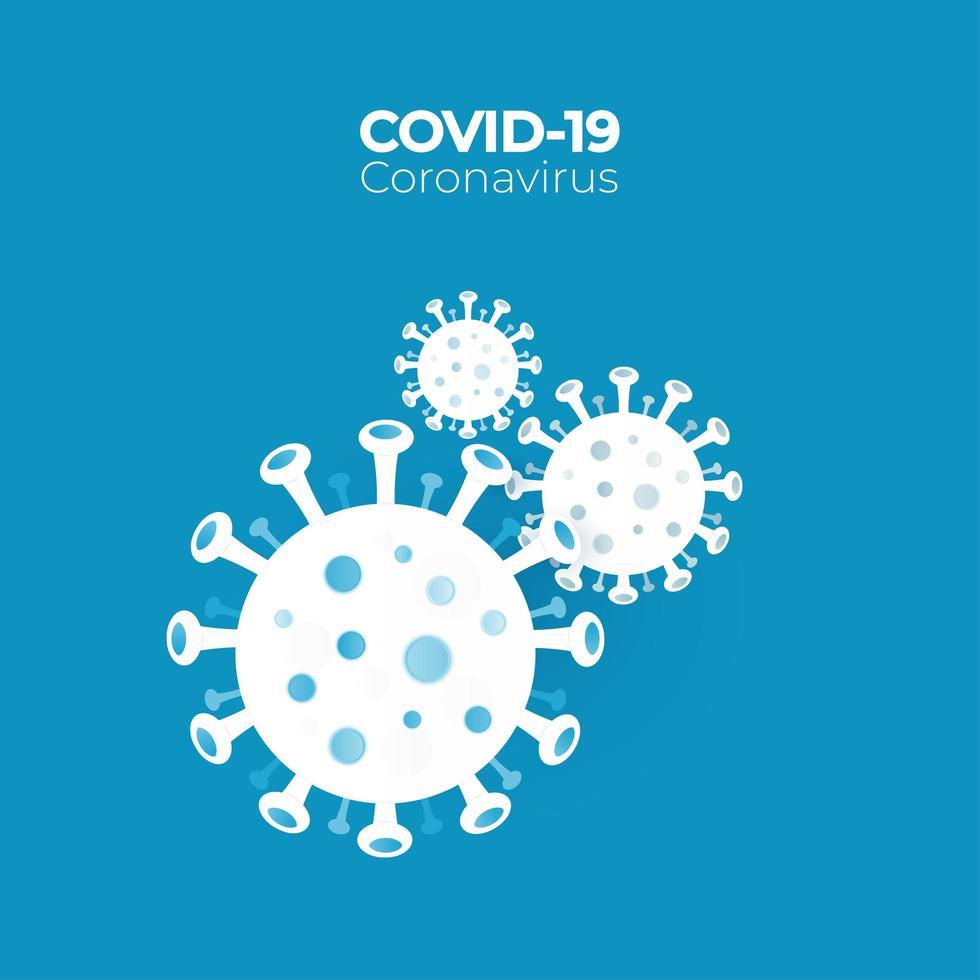 COVID-19 Virus Cells on Blue vector