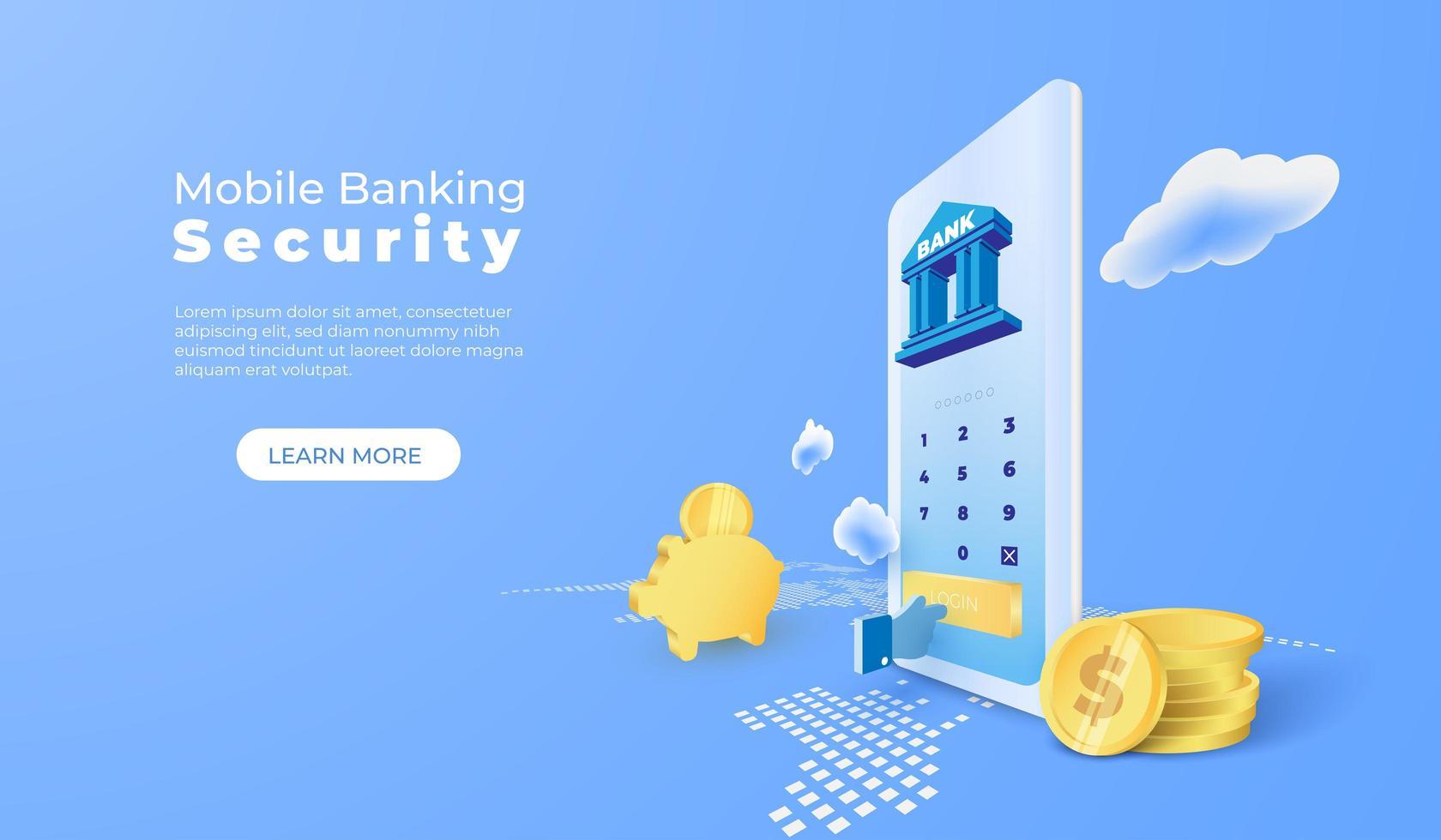 serviço bancário com aplicativo móvel com moedas no mapa do mundo vetor