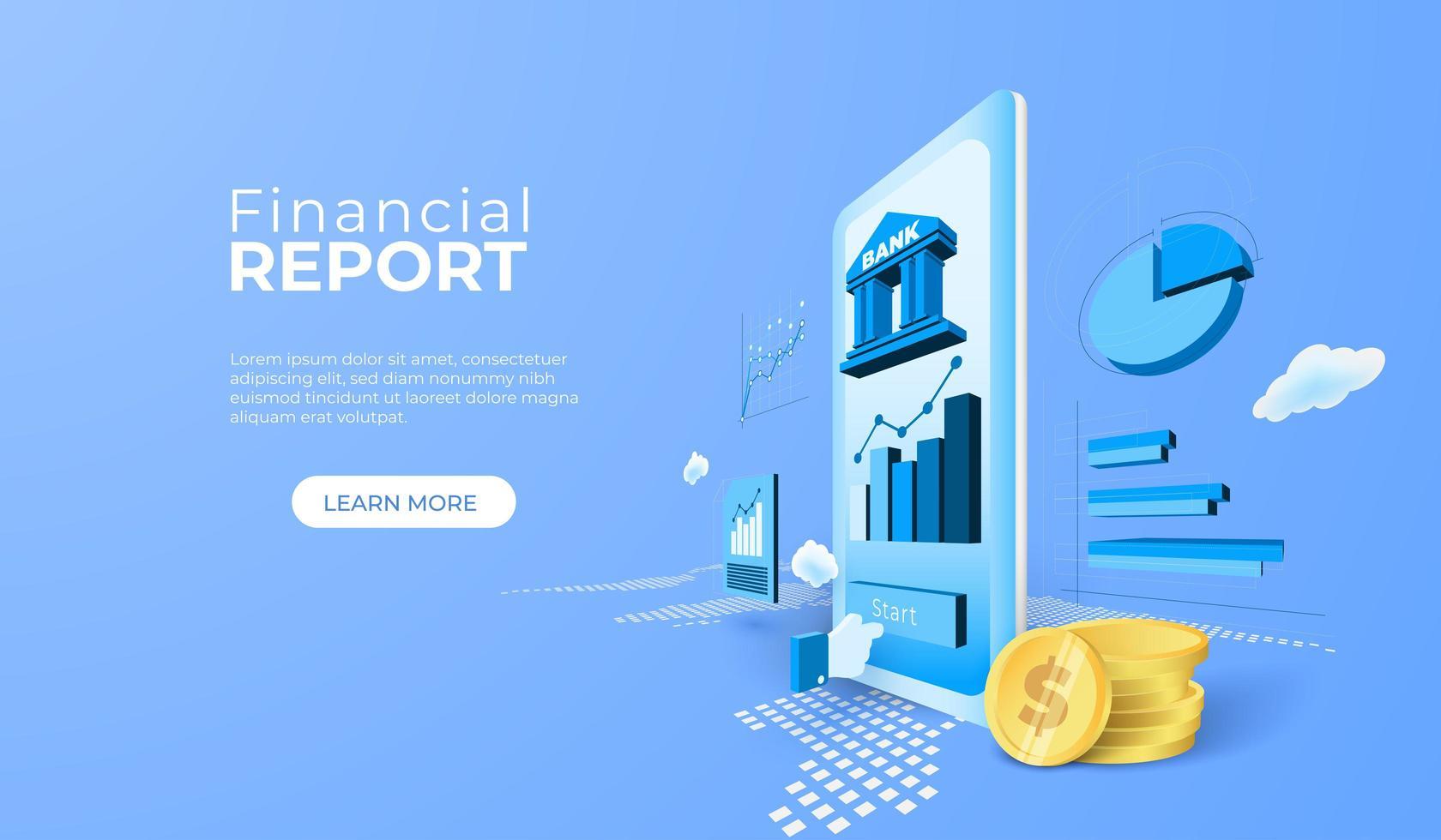 servicio bancario de informes financieros con aplicación móvil vector