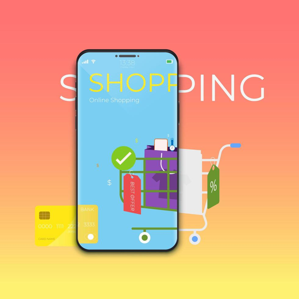 Online shopping concept with mobile application technology vector