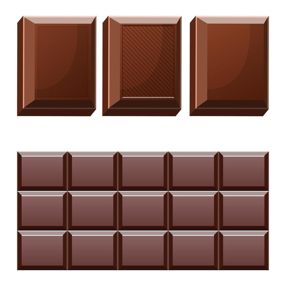 Barra de chocolate aislado sobre fondo blanco. vector
