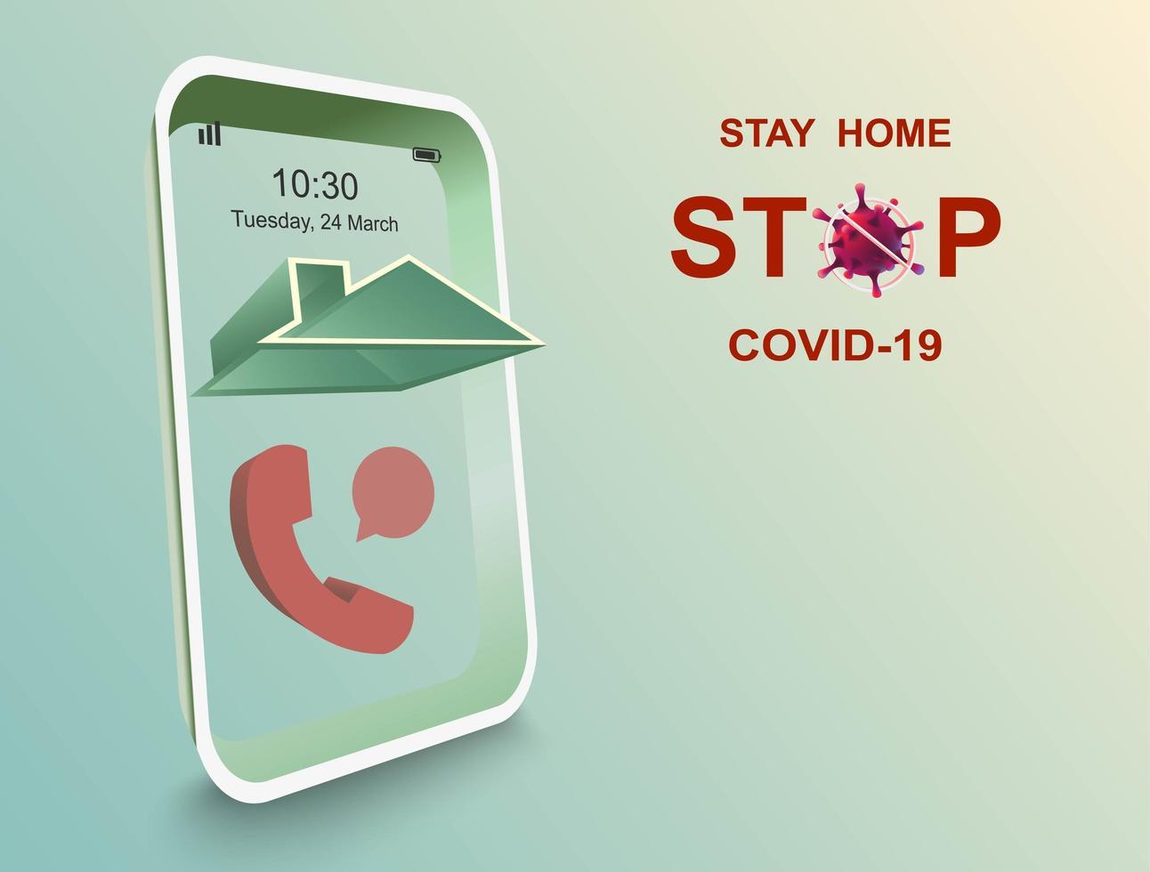 quedarse en casa y dejar de covid-19 vector