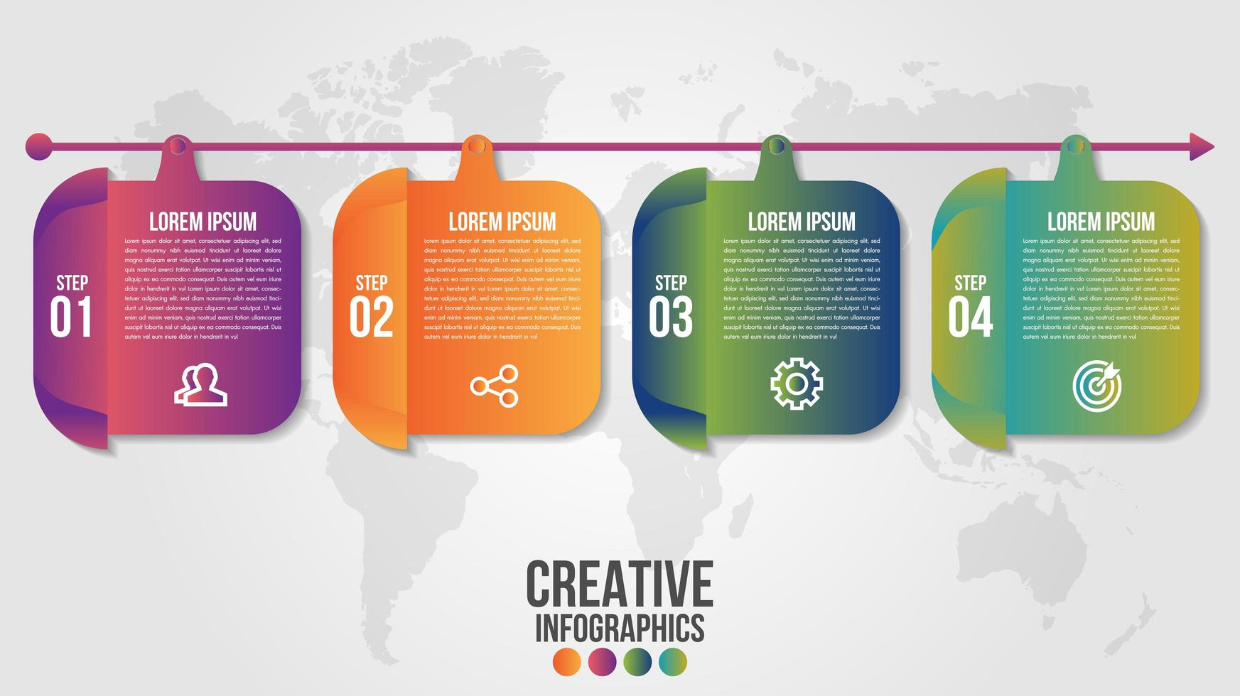 Infographic timeline with 4 rounded squares on arrow vector