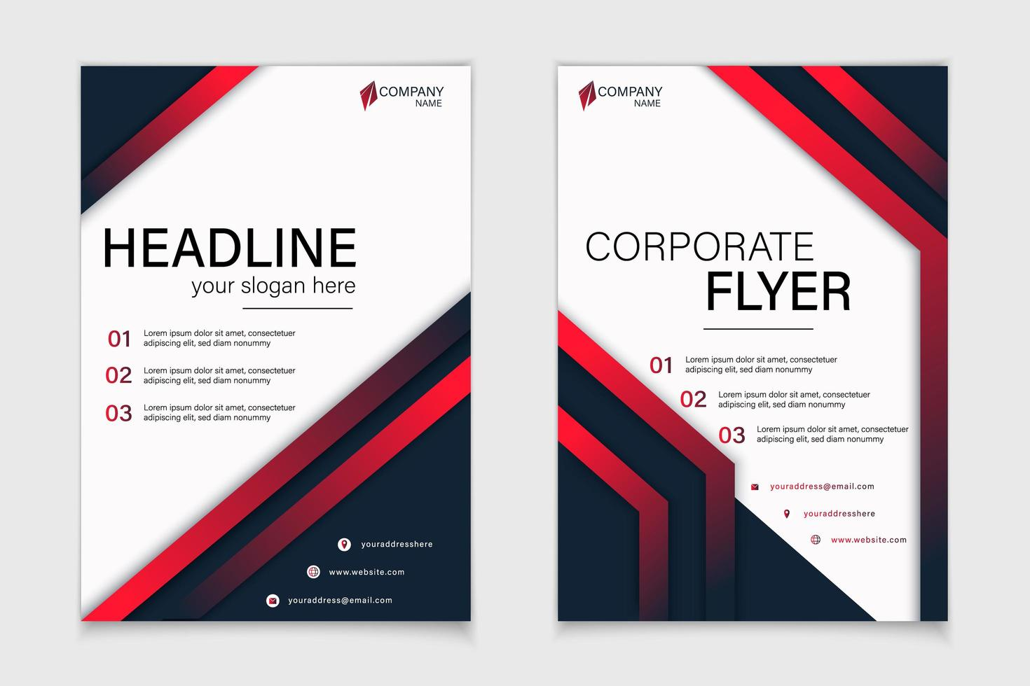 Corporate flyer set with red and blue angles vector