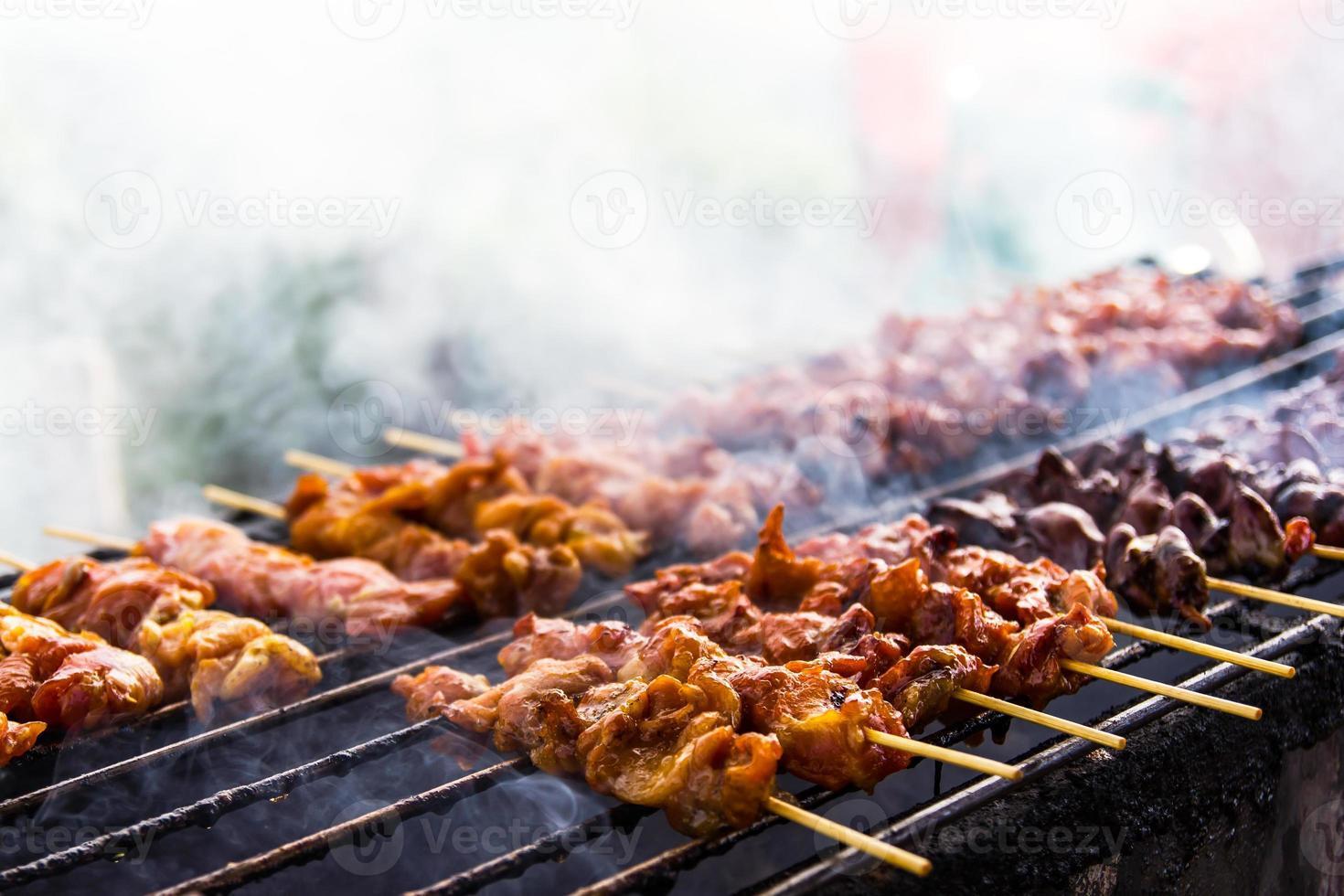 Skewer chicken pieces photo