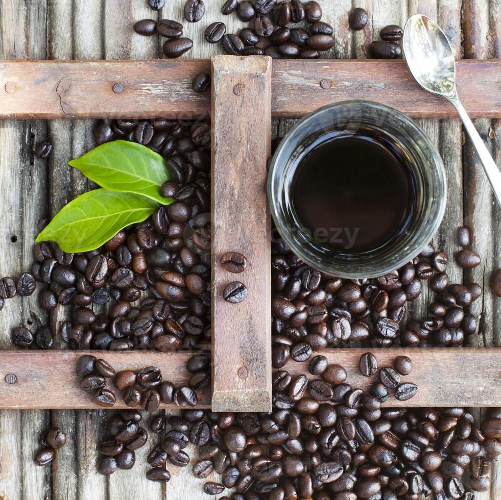 Black coffee with freshly roasted beans. Vietnamese style. photo
