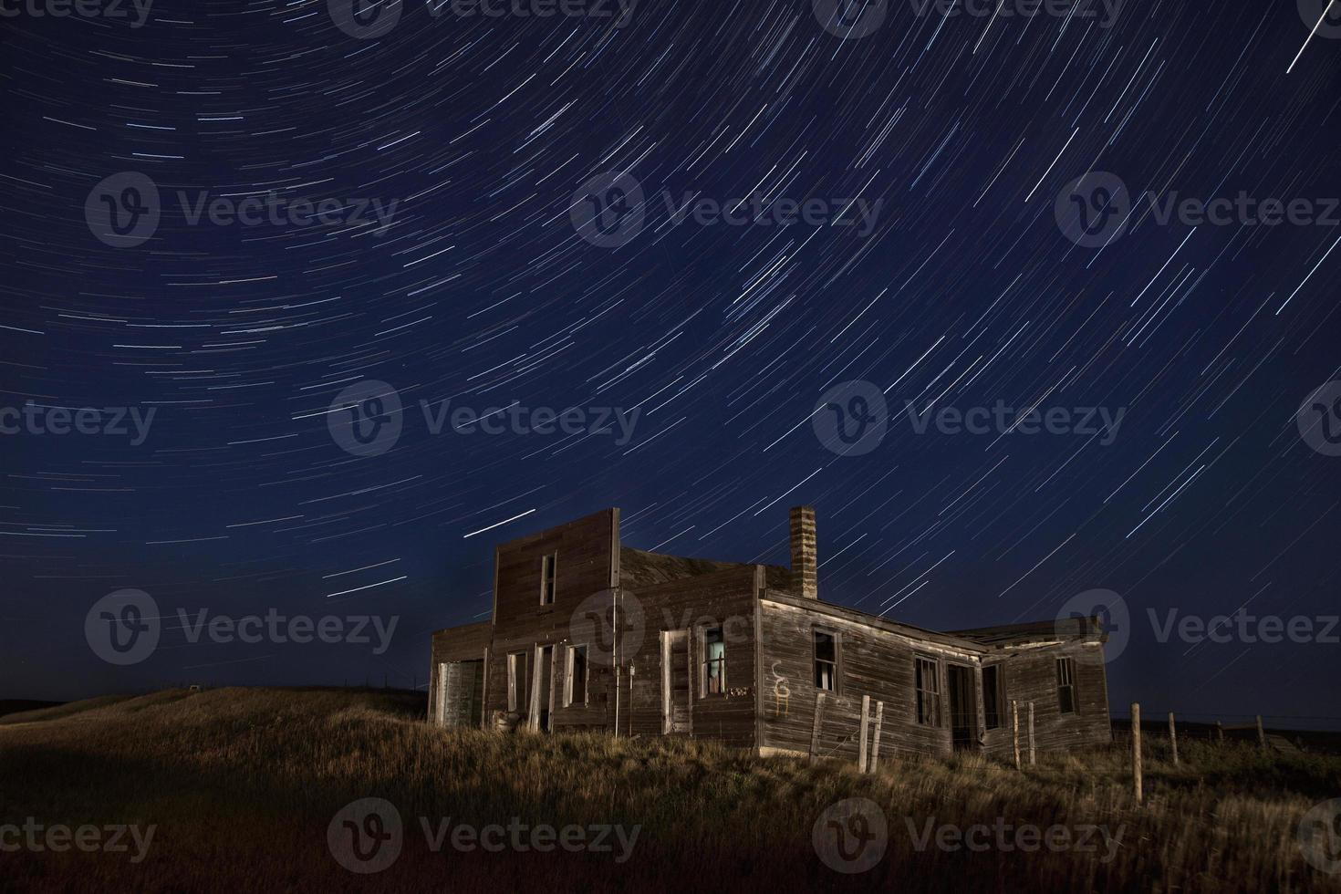 Star Trails Night Photography Abandoned Building photo