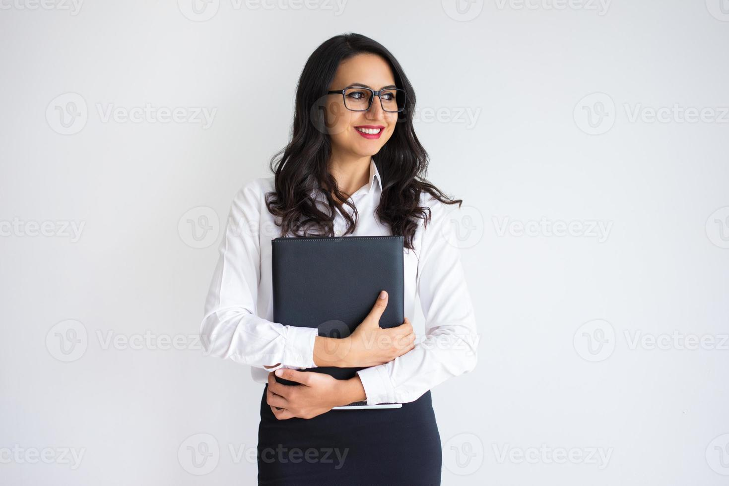 Happy Pretty Business Woman Holding Folder photo