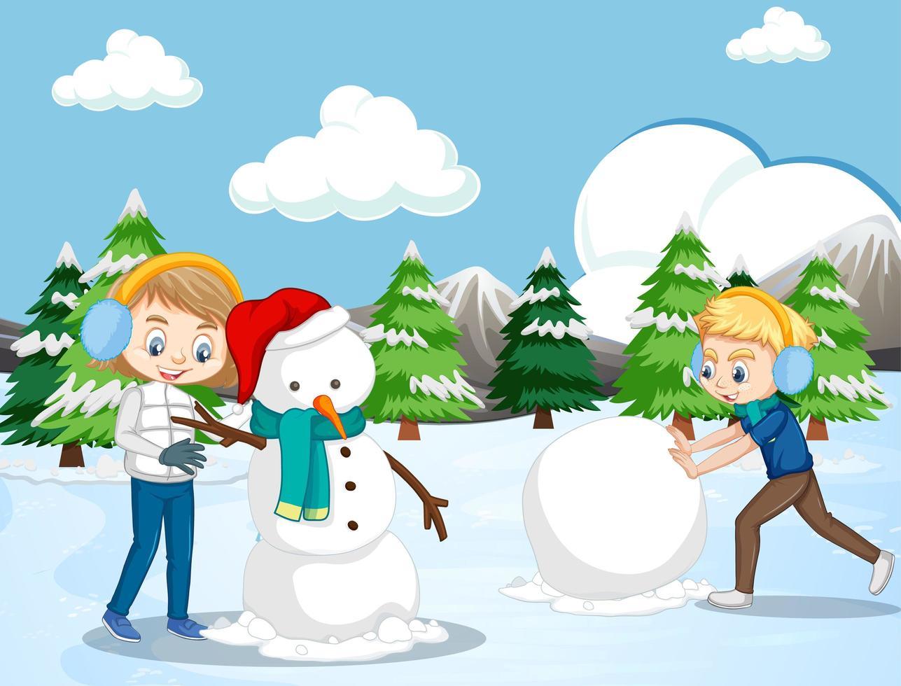 Escena Con Niños Haciendo Muñeco De Nieve En El Campo De Nieve Descargar Vectores Gratis Illustrator Graficos Plantillas Diseño