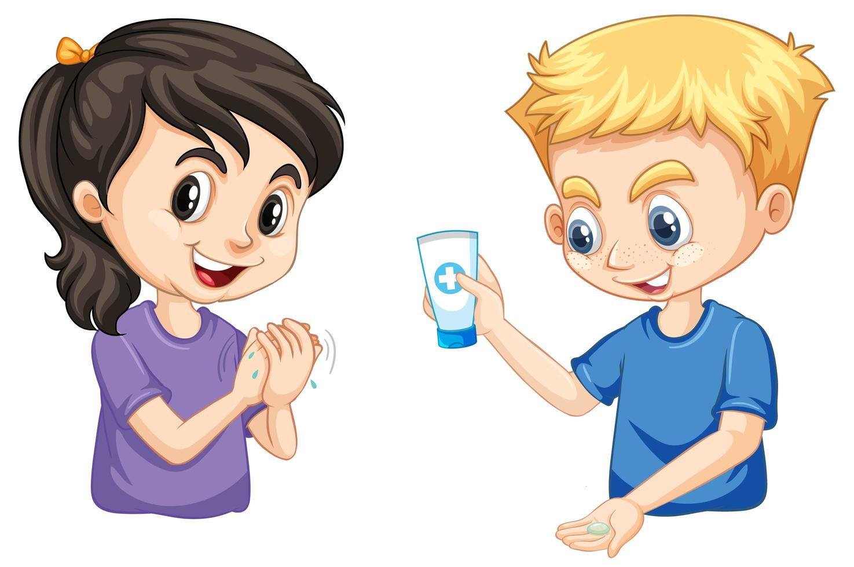 menino e menina, lavar as mãos vetor