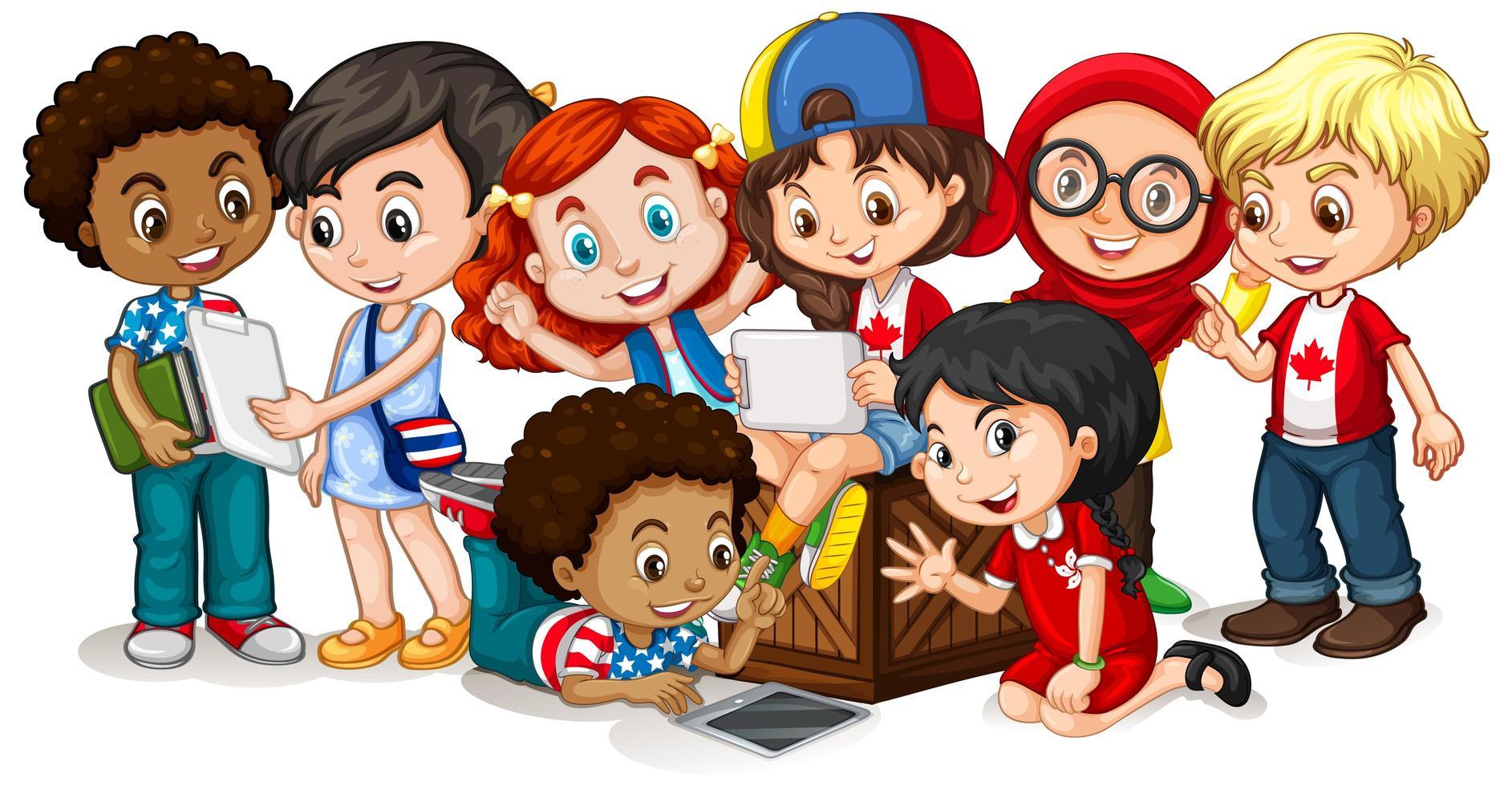 niños felices mirando tableta juntos vector