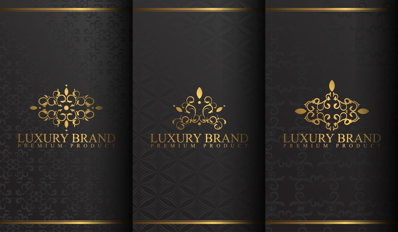 ensemble de dessins de logo de luxe noir et or vecteur