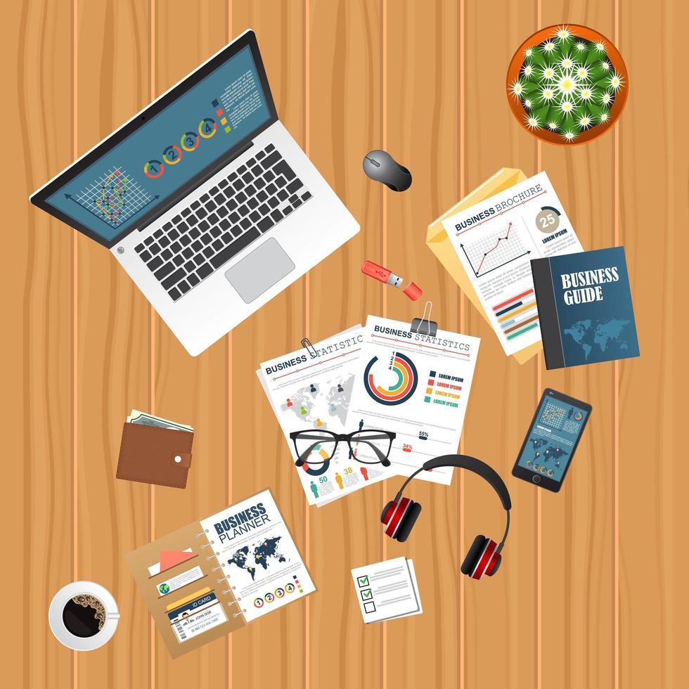 vista superior de diseño de negocios con laptop y documentos vector