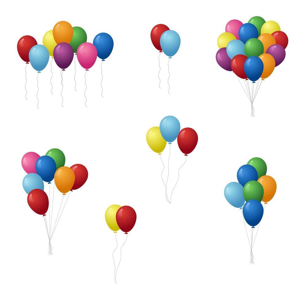 conjunto de globos de cumpleaños colorido vector