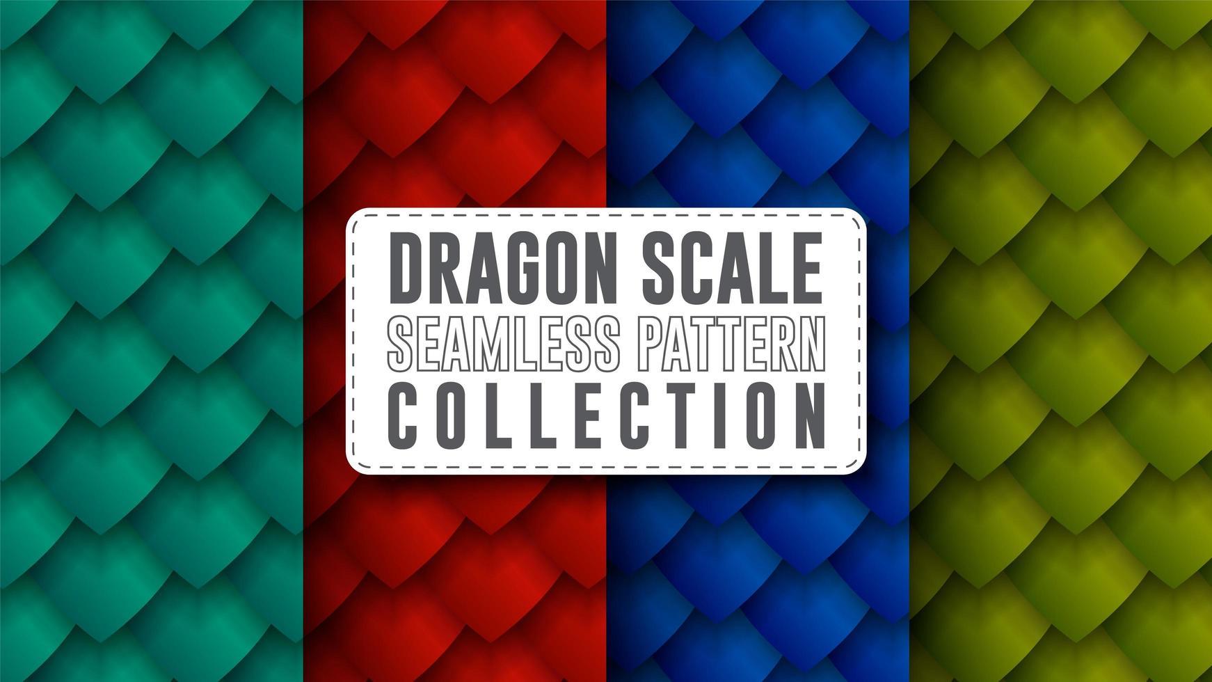 colección de patrones sin fisuras de escala de dragón vector