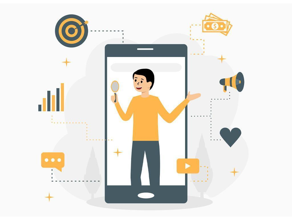 Mobile digital marketing concept with man in phone vector