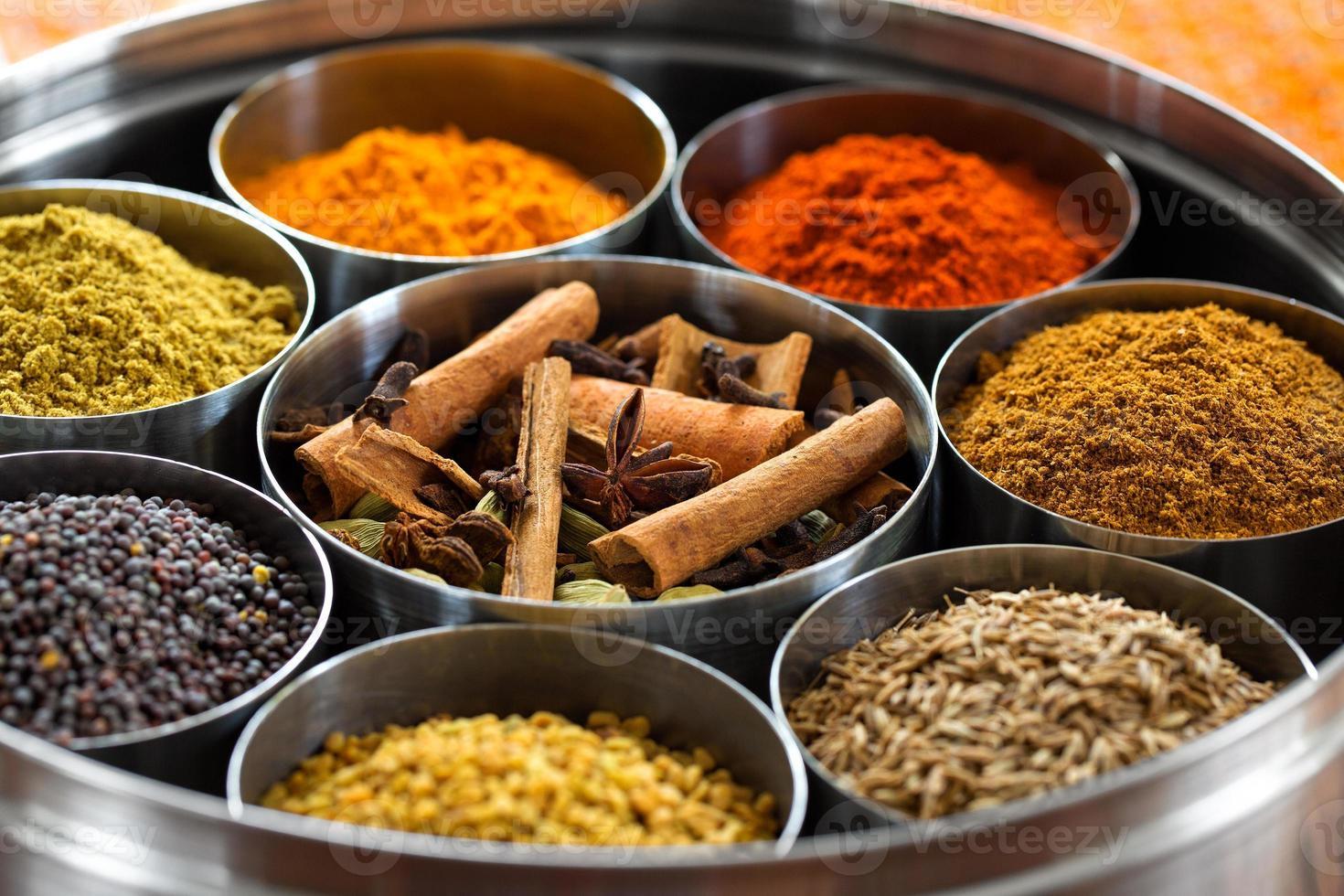 dabba masala (caja de especias indias) foto