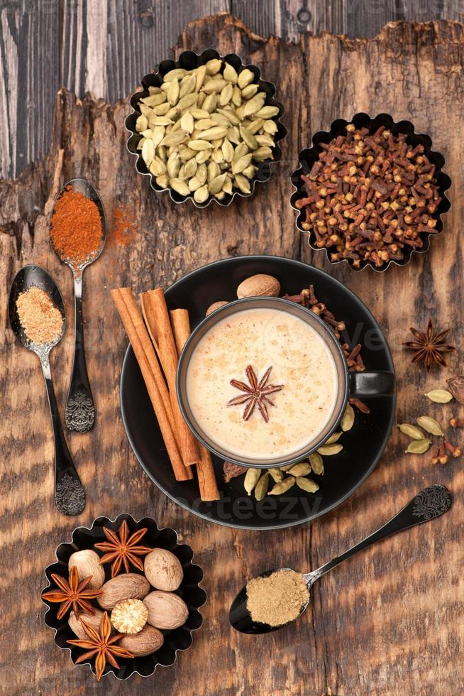Indian masala chai and spices. photo