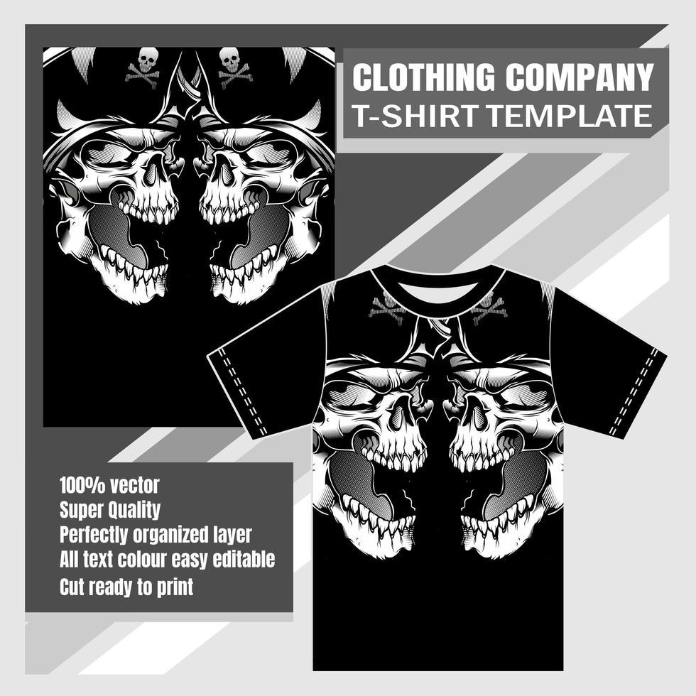 modello di t-shirt teschio pirata teste vettore