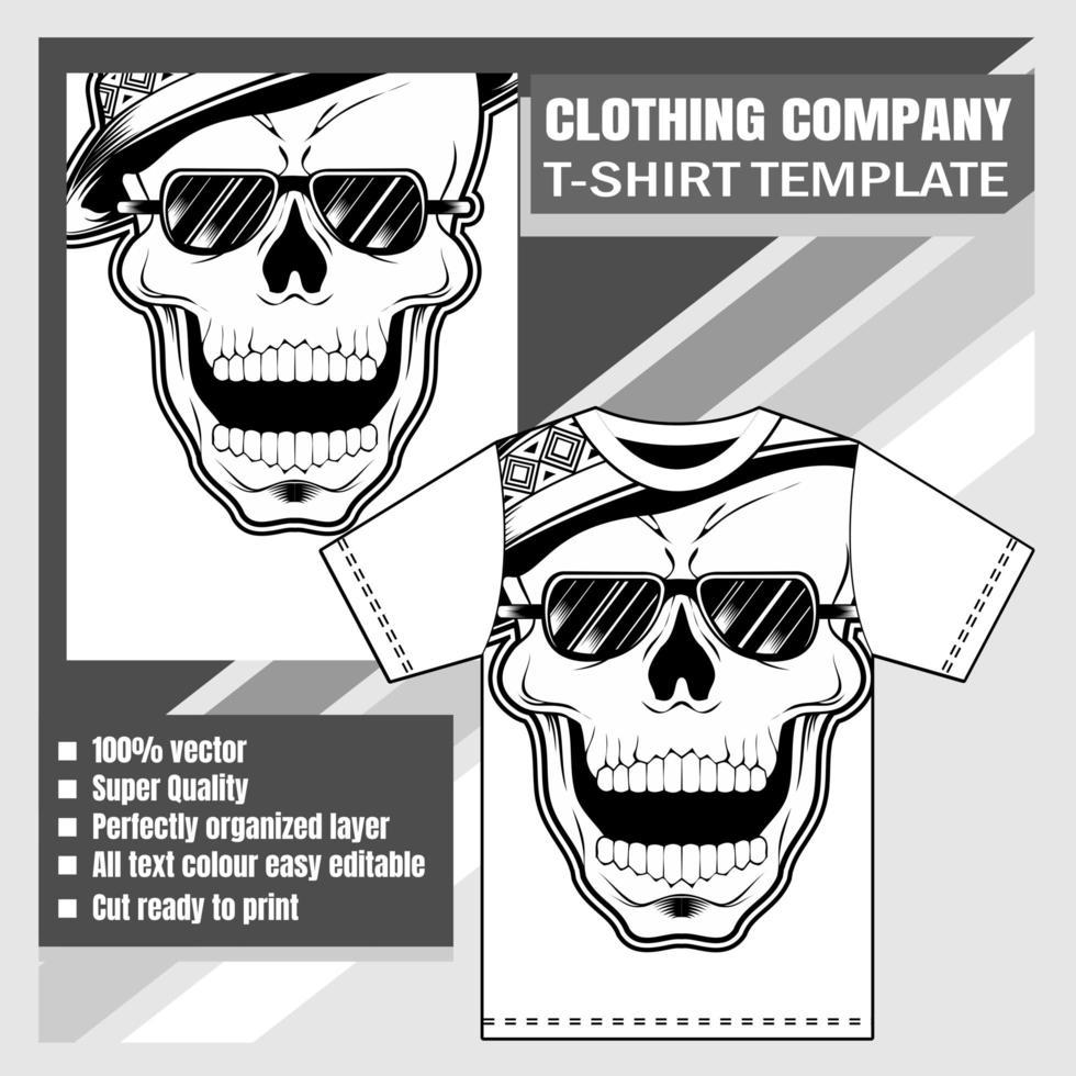 modèle de t-shirt crâne portant chapeau et lunettes de soleil vecteur