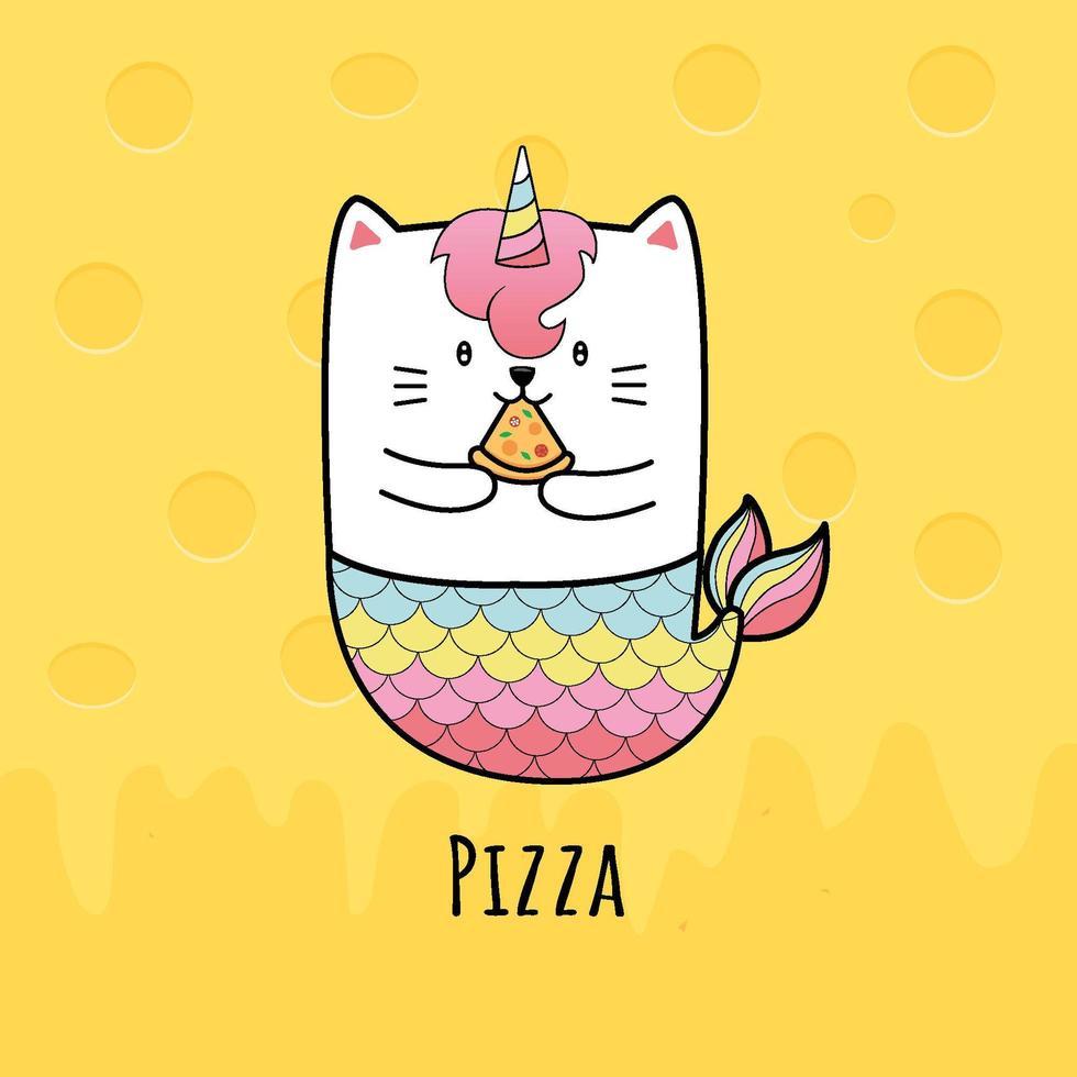 sirène de chat mignon manger une tranche de pizza vecteur