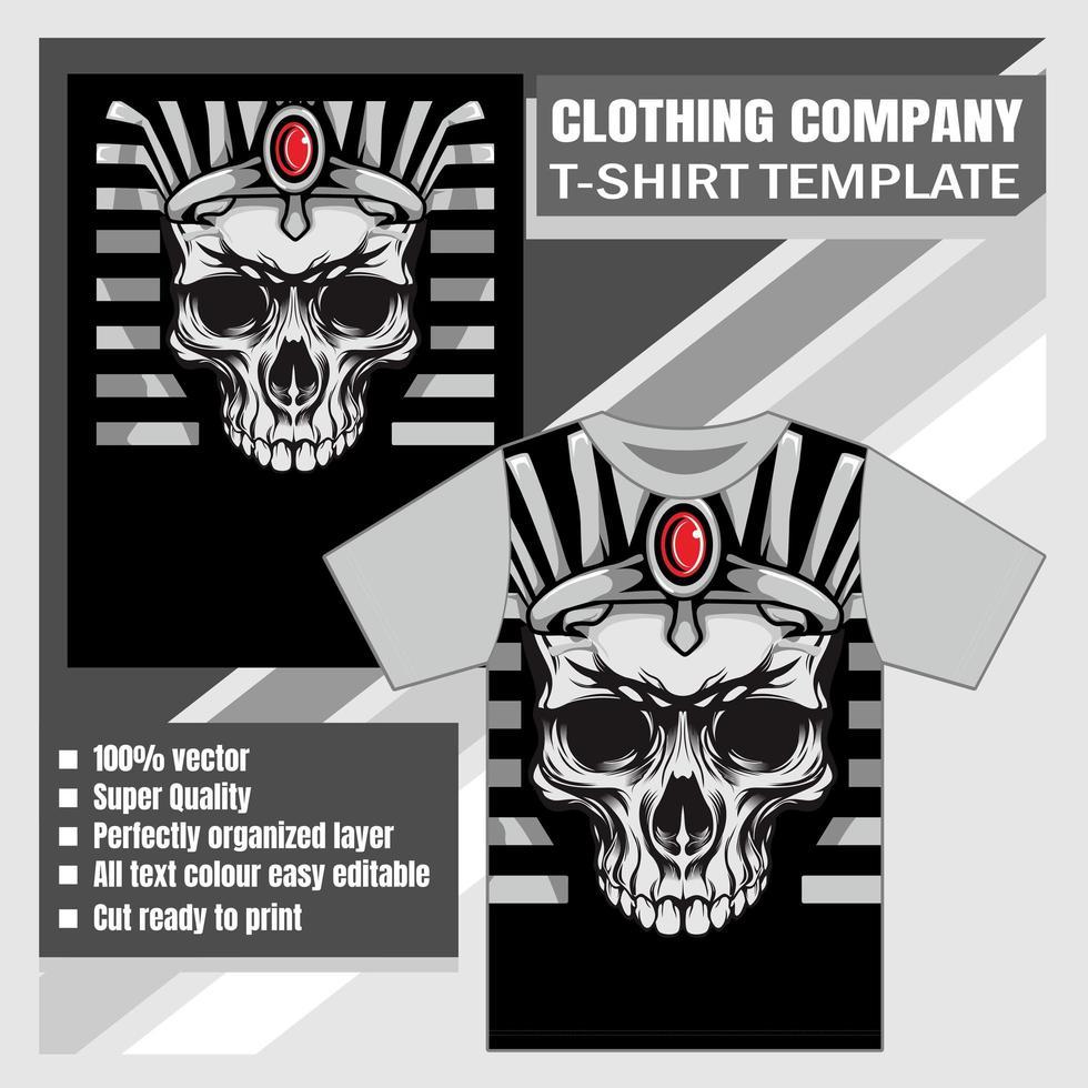 modèle de t-shirt tête de crâne de roi égyptien vecteur