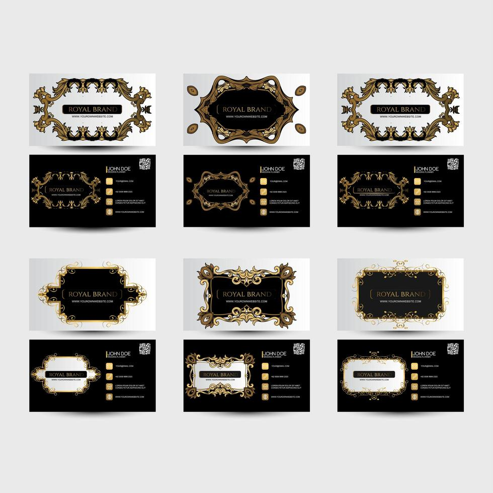 tarjetas de visita en blanco y negro con adornos dorados vector