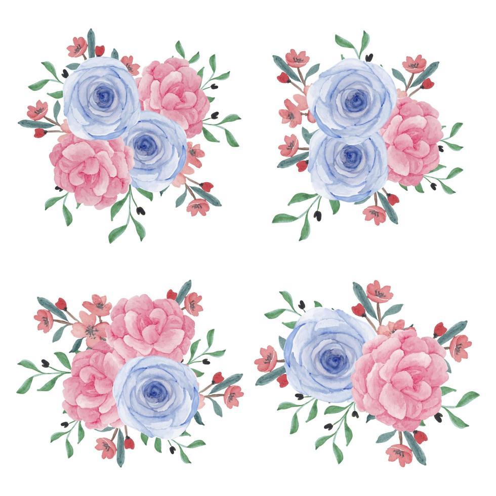 collezione di bouquet di fiori di peonia rosa dell'acquerello vettore