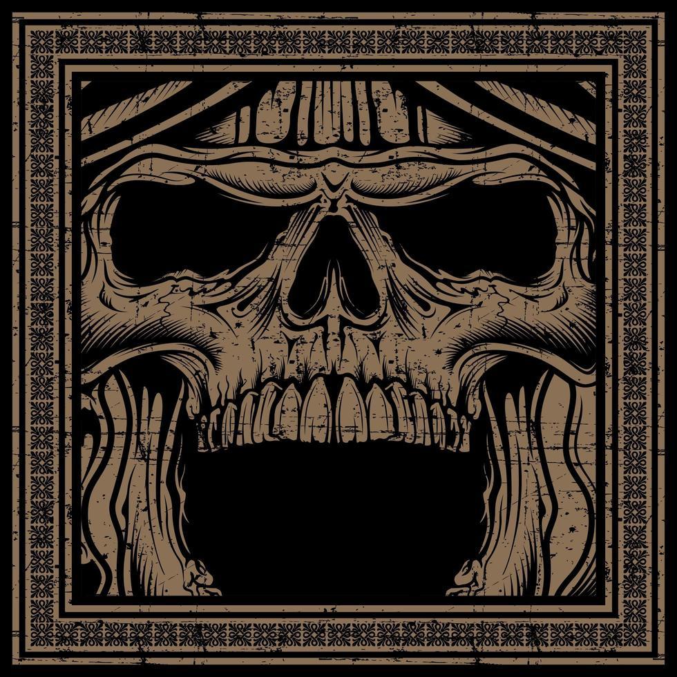 crâne de grunge hurlant dans le cadre vecteur