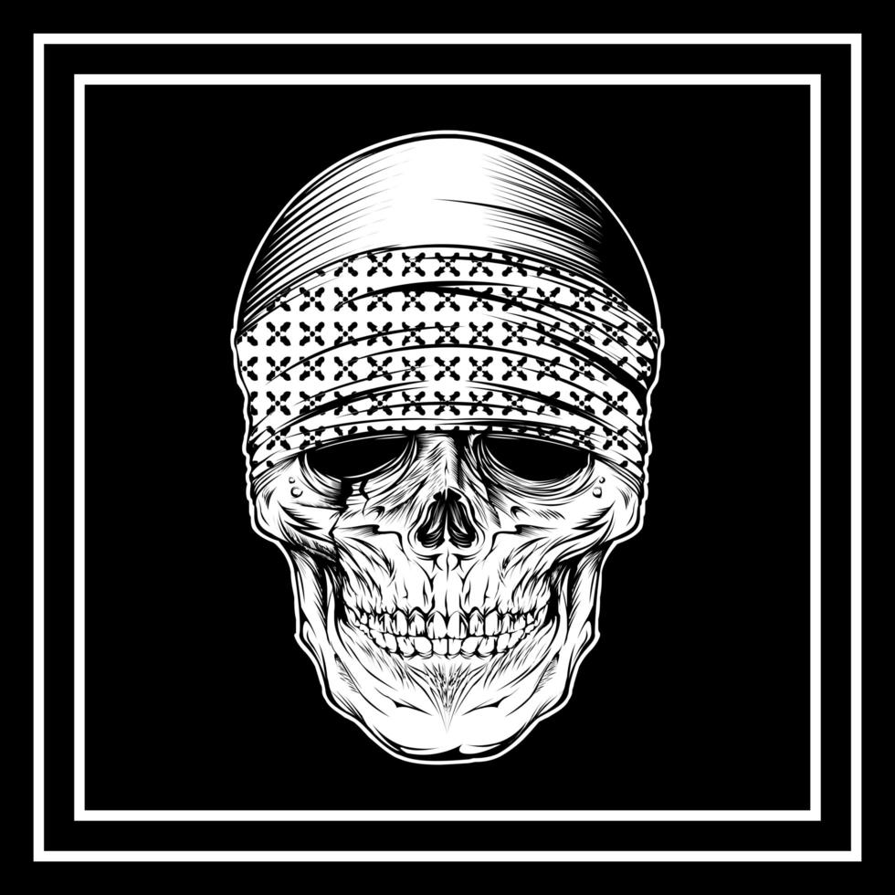 Skull Wearing Bandana in Frame vector