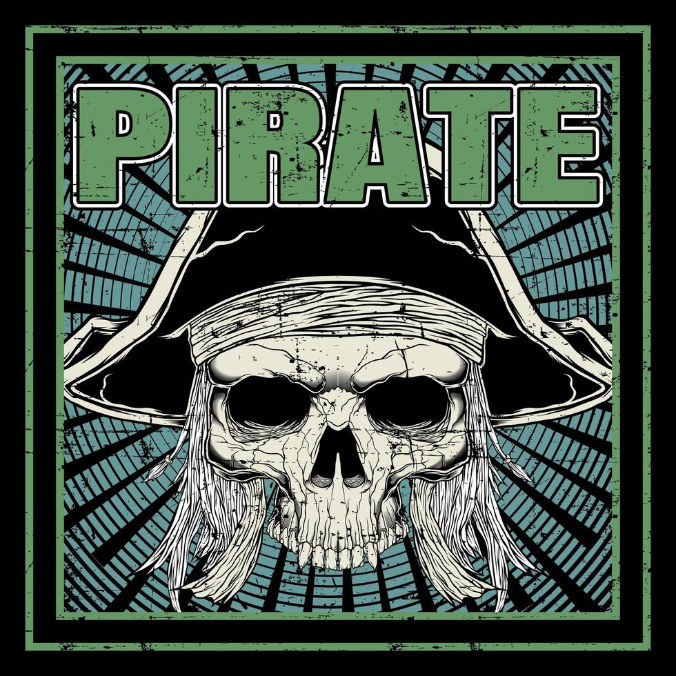 Grunge Pirate Skull in Frame vector