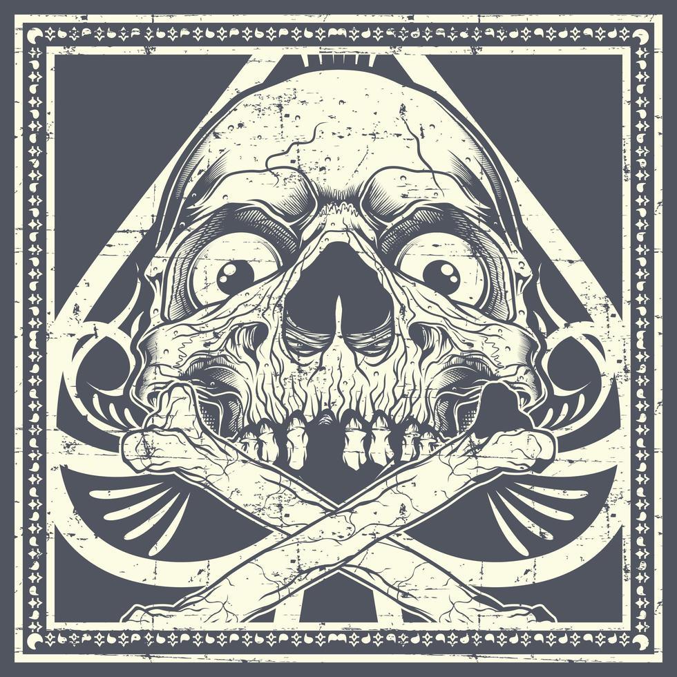 caveira grunge com ossos cruzados sobre pá vetor
