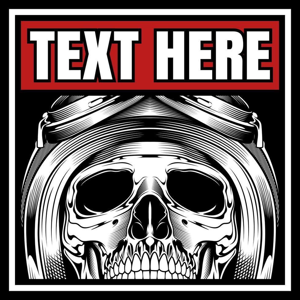 crâne de motard casqué dans le cadre de texte vecteur