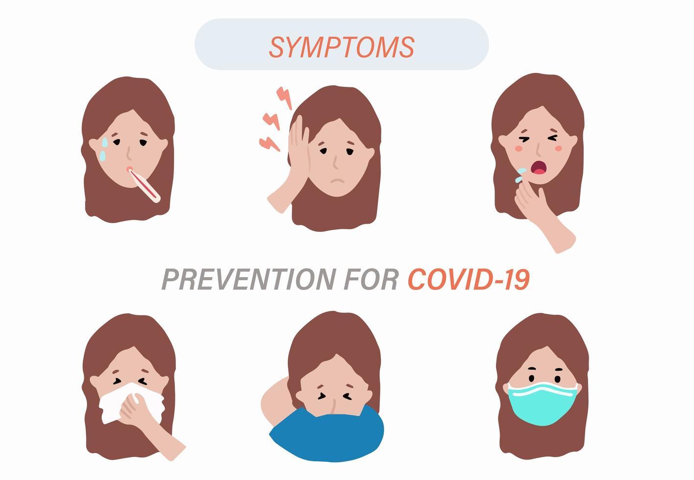 infografía de síntomas de coronavirus vector