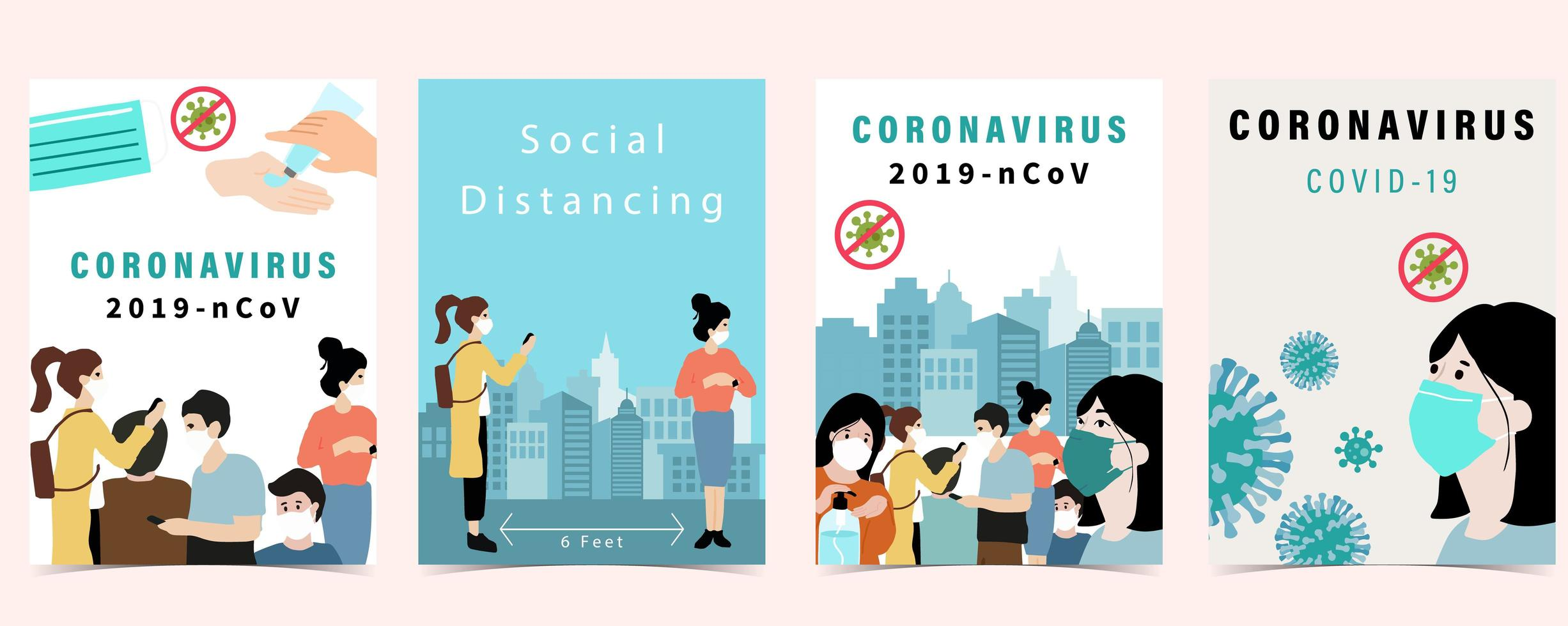 Poster set for Covid-19 vector