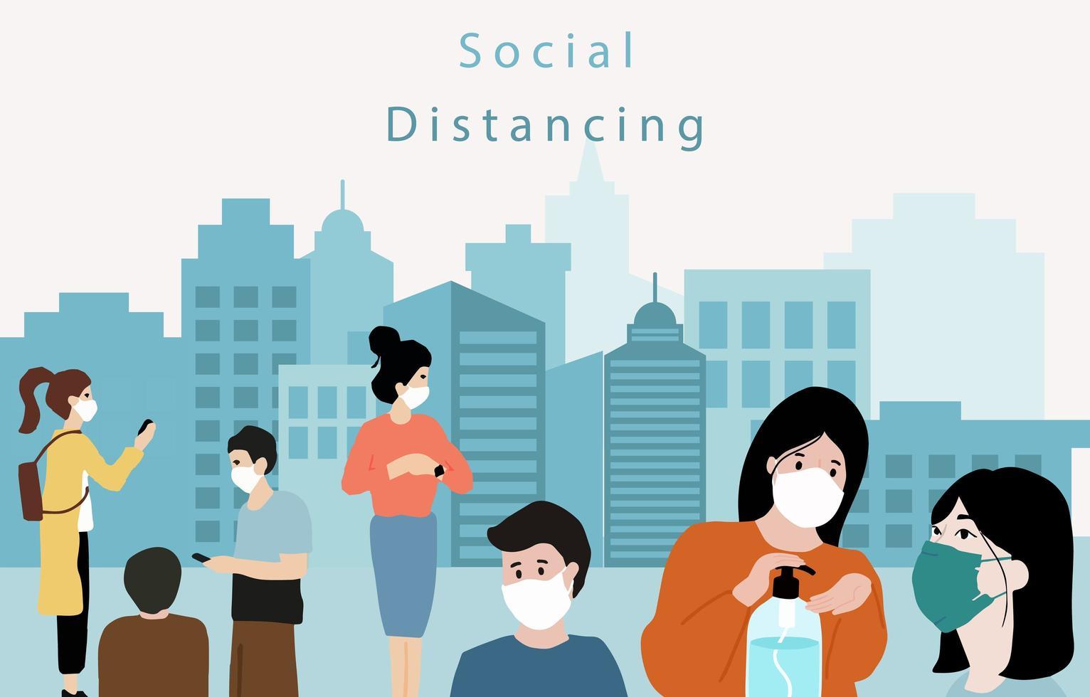 distanciamiento social afuera en cartel de la ciudad vector