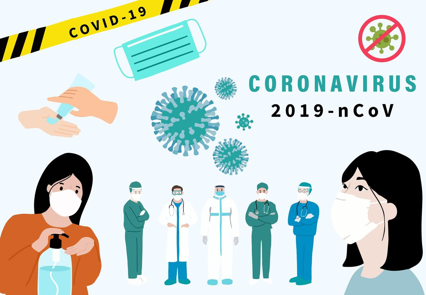 Coronavirus poster with medical staff, sanitization and cells vector