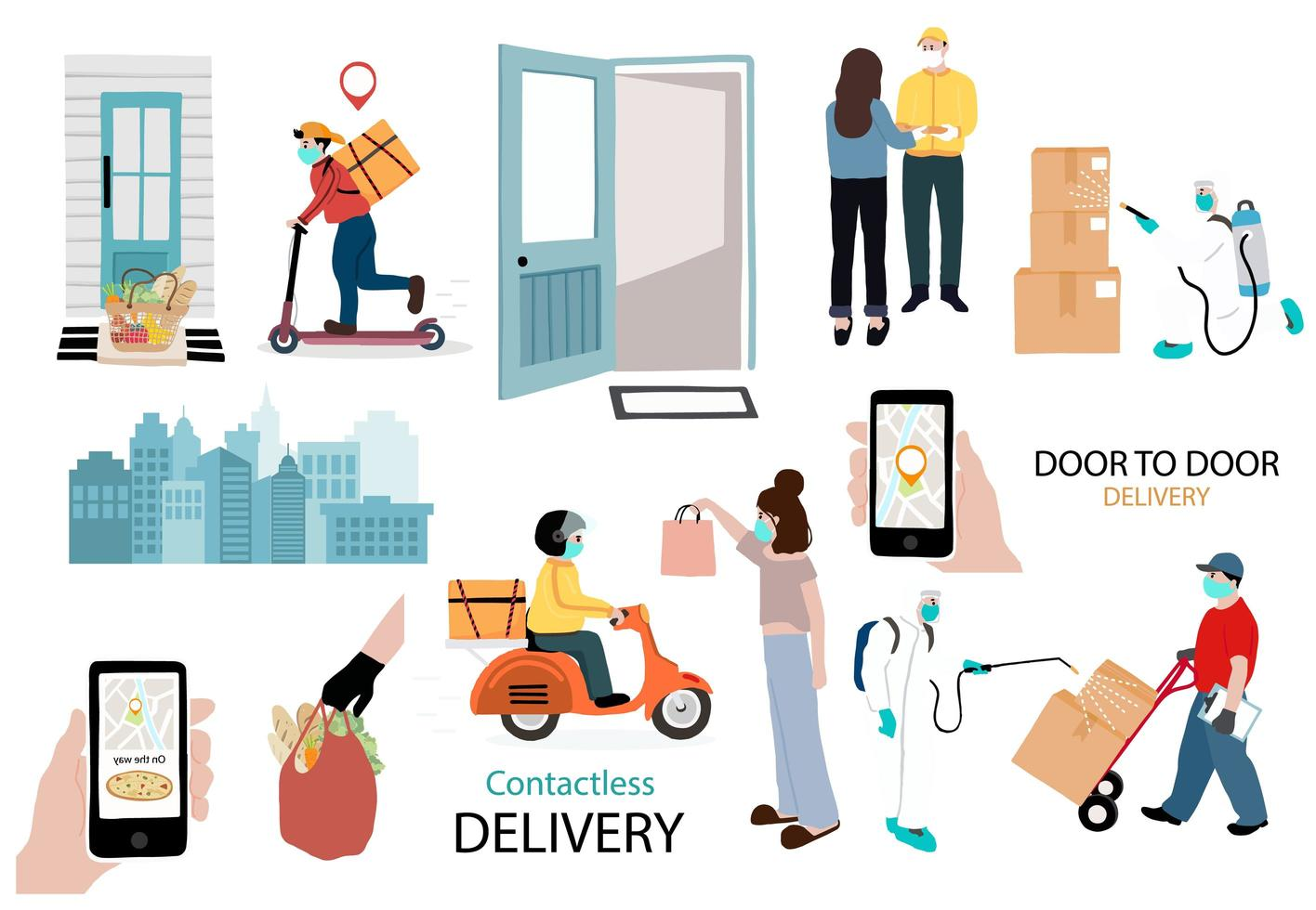 Contactless online service and delivery image set vector