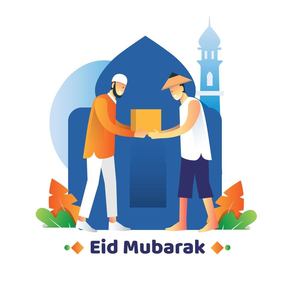 diseño de eid mubarak con hombre dando donación vector